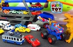 Cars for children. Transporter, Ambulance, Garbage Truck, Cars, Taxi, monster truck. Video with toys